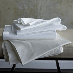 Stresa Solid Sateen White King Fitted Sheet