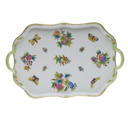 Queen Victoria Green Rectangular Tray with  Branch Handles