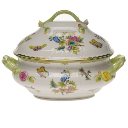 Queen Victoria Green 4 Quart Tureen with Branch Handles
