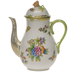 Queen Victoria Green 36 Ounce Coffee Pot with Rose