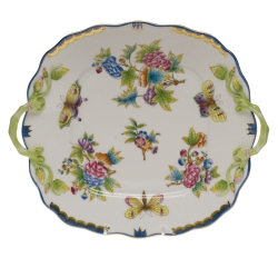 Queen Victoria Blue Square Cake Plate with Handles