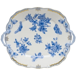 Fortuna Blue Square Cake Plate with Handles