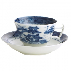 Blue Canton Tea Cup and Saucer