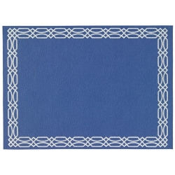 Trelis Periwinkle and White Easy Care Mats, Set of Four