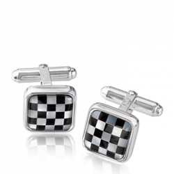 Checkerboard Cufflinks with Black Onyx