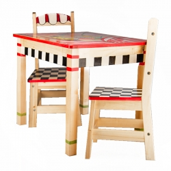 Custom Painted Wooden Table and Two Chairs
