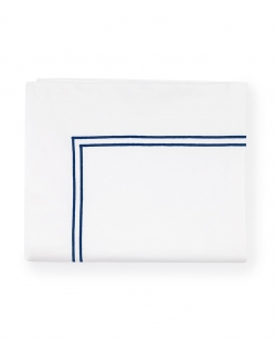 Grande Hotel White/Navy Full/Queen Flat Sheet