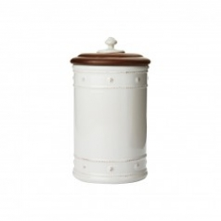 Berry & Thread Whitewash Canister with Wooden Lid, Small