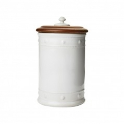 Berry & Thread Whitewash Canister with Wooden Lid, Medium