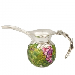 Sterling Silver and Enameled Jug with Grapes