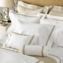 Lowell White/Ivory King Flat Sheet