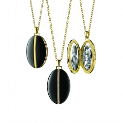 Oval Black Ceramic Locket with Diamond Accents