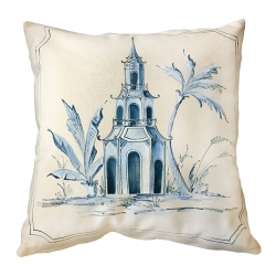 Hand Painted Chinese Temple Pillow