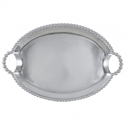Pearled Oval Handled Tray
