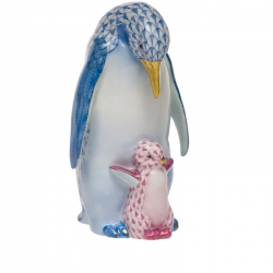 Blue/Raspberry Penguin with Baby
