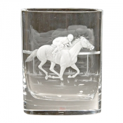 Race Horse Engraved Vase