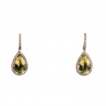 Citrine and Diamond Teardrop Earrings