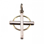 Large Sterling Silver and 18 Kt. Gold Cross Pendant