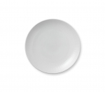 White Fluted Coupe Dessert Plate