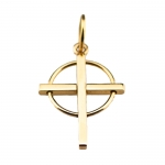 Small 14 kt Gold Cross with Circle Pendant