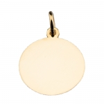 Hand-Engraved 14 kt Gold Disc Pendant