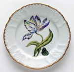 Old Master Tulips Yellow, Greean, Purple and Blue Tulip Salad Plate