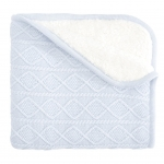 Blue Lattice Furback Baby Stroller Blanket