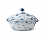 Blue Fluted Half Lace Covered Tureen
