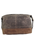 Olive Waxed Canvas Top-Zip Dopp Kit