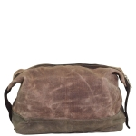 Khaki Waxed Canvas Top-Zip Dopp Kit