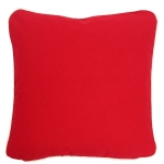 Large Red Pillow with Natural Trim