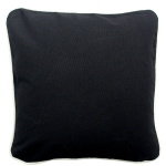 Black Pillow with Natural Trim