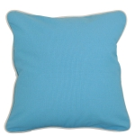Large Baby Blue Pillow with Natural Trim