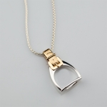 Sterling Silver and 14 Kt Gold Stirrup Pendant Necklace