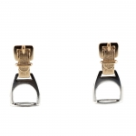 Sterling and 14 kt Gold Stirrup Pendant Earrings