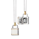 Two-Tone Square \Lock\ Inspired Locket Necklace