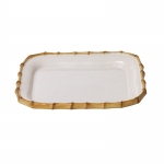 Bamboo Rectangular Platter From lobster mac and cheese to bright vegetables braised to perfection, Juliska\'s white platter rimmed in natural bamboo adds exotic flair to your table. Pairs remarkably well with the Firenze and Quotidien collections.