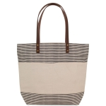 Natural and Gray Striped Handled Casual Tote