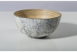 Large Bamboo Salad Bowl Inlaid with Eggshell