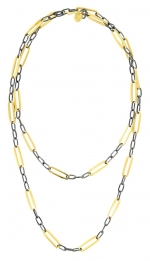 Gold and Black Checkerboard Necklace