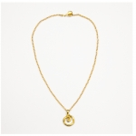 Gold Swirl Necklace with Cubic Zirconia