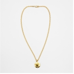 Gold Hammered Disc Necklace with Cubic Zirconia