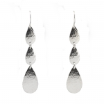Silver Graduated Petals Drop Earrings