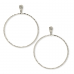 Silver Hammered Circle Post Earrings