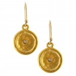 Gold Disc Earrings with Cubic Zirconia