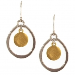 Silver Oval Loop and Gold Disc Earrings