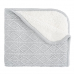 Gray Lattice Furback Baby Stroller Blanket