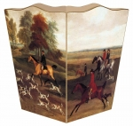 Fox Hunt Wood Wastepaper Basket