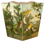 Birds Wood Wastepaper Basket