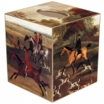 Fox Hunt Paper Mache Tissue Box Cover